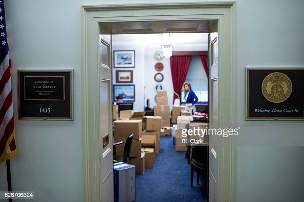 Staffers in Rep Sam Graves' office go about regular business surrounded by moving boxes on Wednesday Nov 30 2016 The congressman is moving his...
