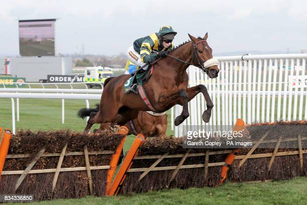 Stafford City ridden by Jockey Miss Nina Carberry during The Littlewoods Direct Imagine Appeal Novices' Hurdle
