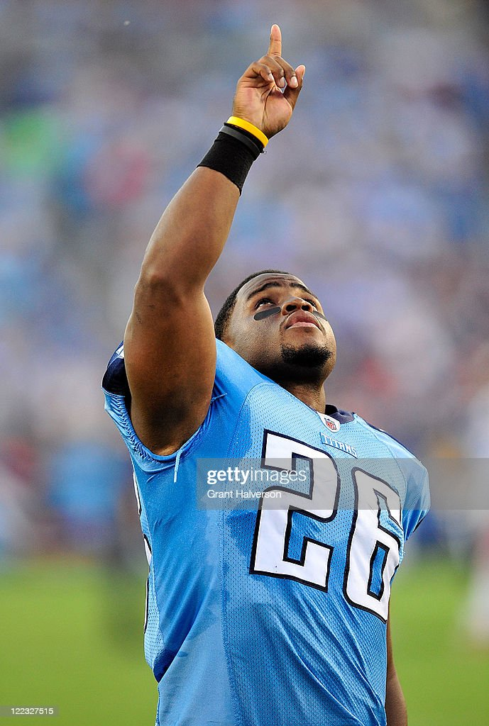 <a gi-track='captionPersonalityLinkClicked' href=/galleries/search?phrase=Stafon+Johnson&family=editorial&specificpeople=2992990 ng-click='$event.stopPropagation()'>Stafon Johnson</a> #26 of the Tennessee Titans points to the sky after a brief prayer in the end zone before a preseason game against the Chicago Bears at LP Field on August 27, 2011 in Nashville, Tennessee.