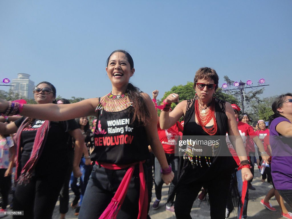 Stage actress Monique Wilson, along with Vagina Monologues playwright Eve Ensler, participate in a global campaign called 'One Billion Rising' at the Luneta Park. This year's theme is 'Escalating Revolution.'.