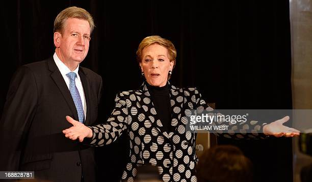 Stage and screen icon Julie Andrews greets the media with New South Wales Premier Barry O'Farrell during her first visit to Australia on May 16 2013...