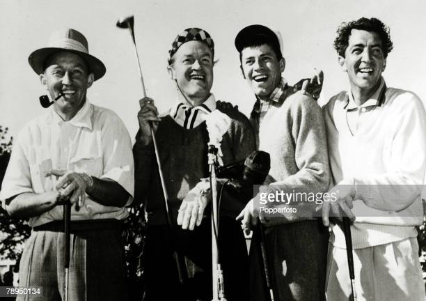 Stage and Screen Music / Personalities pic circa 1950's Keen golfers lr Bing CrosbyBob Hope Jerry Lewis Dean Martin American singer Bing Crosby actor...