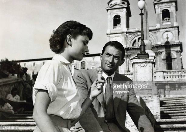 1953 Actress Audrey Hepburn in her Oscar winning film 'Roman Holiday' playing alongside Gregory Peck Audrey Hepburn born in Brussels a truly...