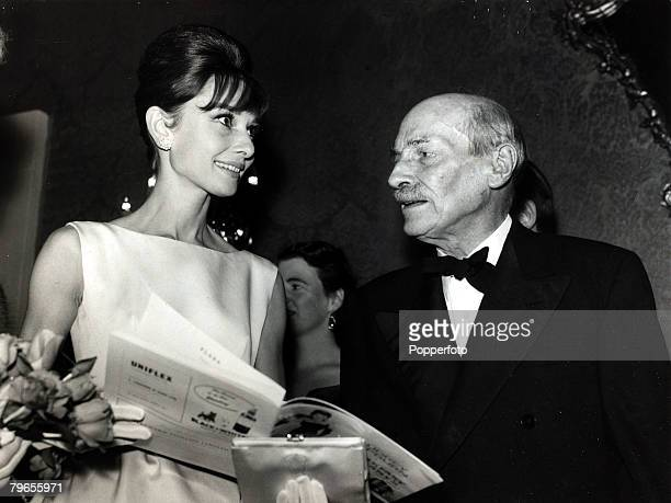 19th October 1961 Actress Audrey Hepburn with Earl Attlee the former British Prime Minister at a London charity premiere for 'Breakfast at Tiffany's'...