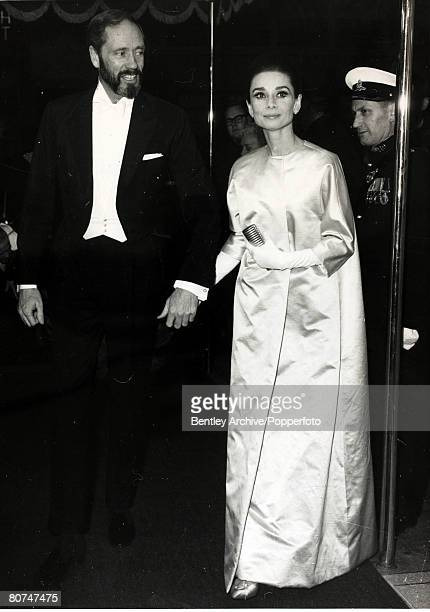 21st January 1965 Actress Audrey Hepburn and her husband Mel Ferrer arrive for the London premiere of 'My Fair Lady' Audrey Hepburn born in Brussels...