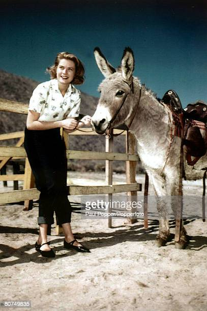 circa 1950 American actress Grace Kelly and donkey Grace Kelly born in Philadelphia was a cool elegant beauty who starred in such films as 'High...