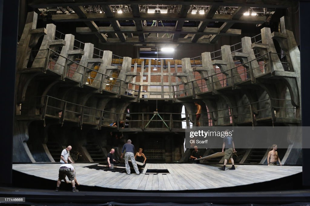 Stage crew prepare the set in Glyndebourne opera house for a production of the Benjamin Britten opera 'Billy Budd' on August 22, 21013 in Lewes, England. The Glyndebourne Festival of six operas performed at the East Sussex opera house from May until August sees its final performance of the season on August 25, 2013. The Glyndebourne opera house stands in the grounds of the country home of John Christie, who founded it in 1934, today it is recognised globally as one of the world's great opera houses.