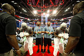 Stage crews are reflected in the shiney surfaces of the camera platforms inside the Tampa Bay Times Forum site of the the Republican National...