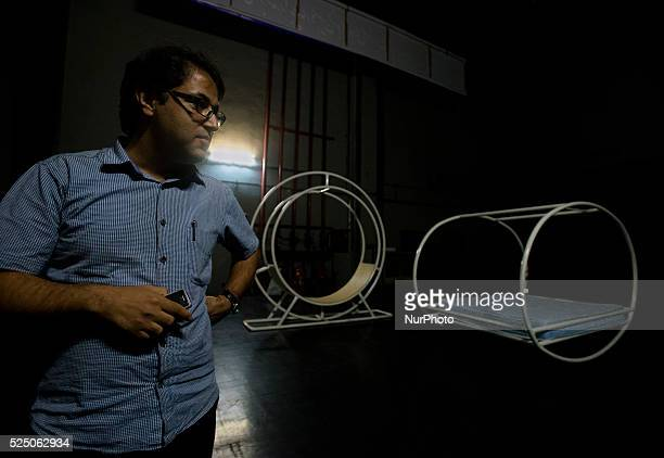 Stage designer of the Iranian play 'Garden view' Reza Mehdizadeh shows equipment of the play Tehran Iran Iran is a diverse country consisting of many...