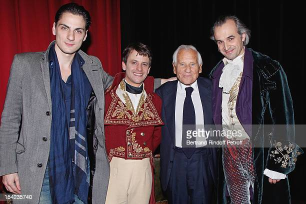 Stage director JeanLaurent Silvie actor Maxime d'Aboville Academician Jean d'Ormesson and actor Alain Pochet attend 'La Conversation' By Jean...