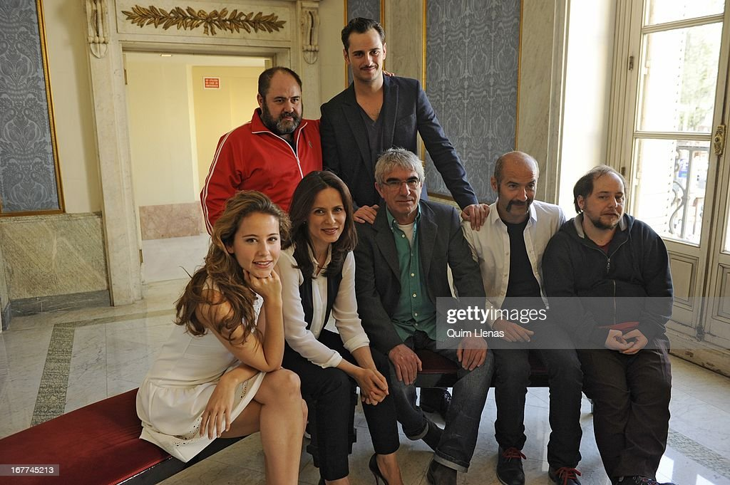 Stage director Joan Olle (center, front row) and actors (L-R, 2nd row) Jorge Calvo, Asier Etxeandia, (L-R, front row) Irene Escolar, Aitana Sanchez Gijon, Rulo Pardo and Tomas Pozzi pose for a photo shoot after the press conference for 'La Chunga' play at Espanol Theatre on April 24, 2013 in Madrid, Spain.