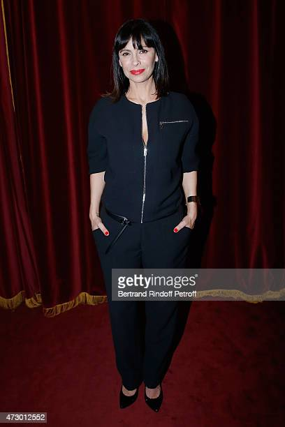 Stage Director Mathilda May postes after the 'Open Space' Theater Play at Theatre de Paris on May 11 2015 in Paris France