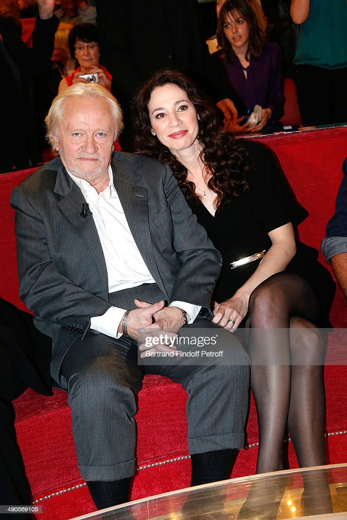 Stage Director <a gi-track='captionPersonalityLinkClicked' href=/galleries/search?phrase=Niels+Arestrup&family=editorial&specificpeople=698708 ng-click='$event.stopPropagation()'>Niels Arestrup</a> and his wife actress Isabelle Le Nouvel present the theater play 'Big Apple' at the 'Vivement Dimanche' French TV show at Pavillon Gabriel on May 14, 2014 in Paris, France.