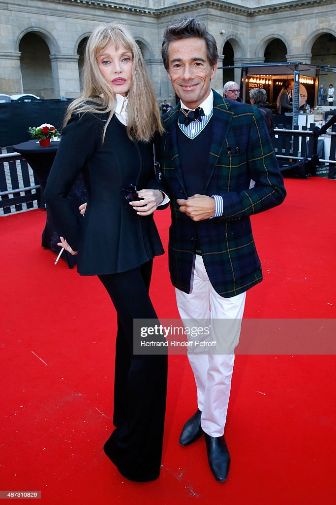 Stage Director of the Opera <a gi-track='captionPersonalityLinkClicked' href=/galleries/search?phrase=Arielle+Dombasle&family=editorial&specificpeople=616903 ng-click='$event.stopPropagation()'>Arielle Dombasle</a> and Sets and Costumes of the Opera Vincent Darre attends 'La Traviata' - Opera en Plein Air, produced by Benjamin Patou and 'Moma Event'. Held at Hotel Des Invalides on September 8, 2015 in Paris, France.