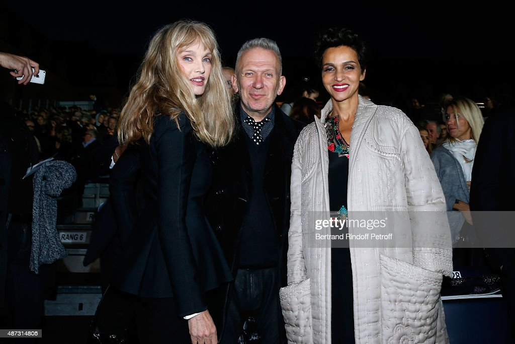 Stage Director of the Opera <a gi-track='captionPersonalityLinkClicked' href=/galleries/search?phrase=Arielle+Dombasle&family=editorial&specificpeople=616903 ng-click='$event.stopPropagation()'>Arielle Dombasle</a>, Fashion Designer Jean-Paul Gaultier and <a gi-track='captionPersonalityLinkClicked' href=/galleries/search?phrase=Farida+Khelfa&family=editorial&specificpeople=4866090 ng-click='$event.stopPropagation()'>Farida Khelfa</a> attend 'La Traviata' - Opera en Plein Air, produced by Benjamin Patou, 'Moma Group'. Held at Hotel Des Invalides on September 8, 2015 in Paris, France.