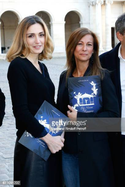 Stage Director of the Opera Julie Gayet and Music Booking Orchestra of the Opera Anne Gravoin attend the 'Opera En Plein Air 2017' Press Conference...