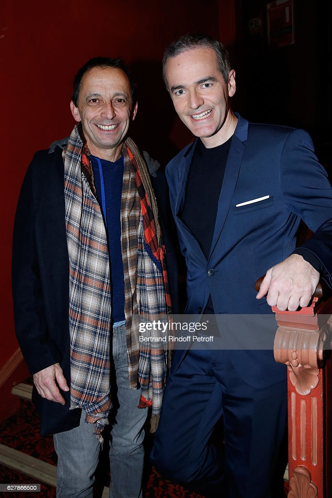 Stage Director of the show Eric Mettayer and Franck Ferrand pose after Franck Ferrand performed in his Show 'Histoires' at Theatre Antoine on December 5, 2016 in Paris, France.