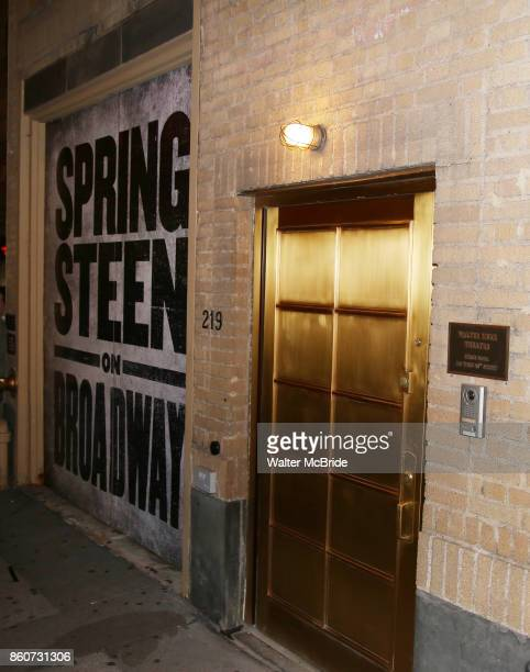 Stage door atmosphere at the Walter Kerr Theater on the official opening night performance of 'Springsteen On Broadway' on October 12 2017 in New...