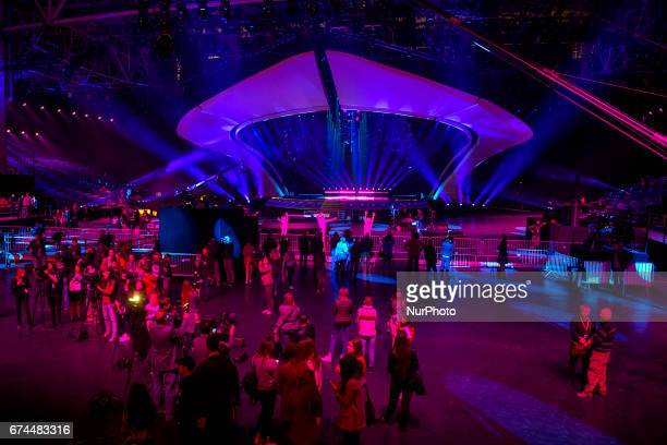 A stage for the Eurovision Song Contest 2017 is seen at the International Exhibition Centre in Kyiv Ukraine April 28 2017