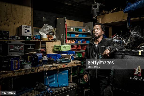 Stage LX Keith Edgehill poses for a portrait in the workshop backstage at the Hackney Empire on December 17 2014 in London England Hackney Empire is...