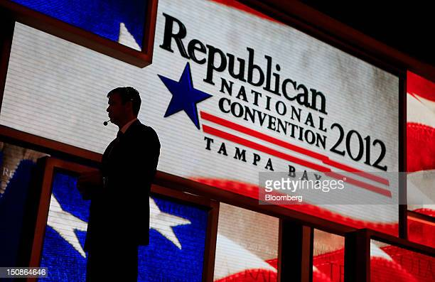 A stage manager stands during a walk through at the Republican National Convention in Tampa Florida US on Tuesday Aug 28 2012 Delegates are gathered...
