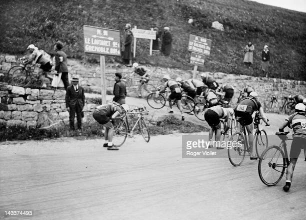 Stage of the Tour de France cycle race in the Lautaret circa 1930