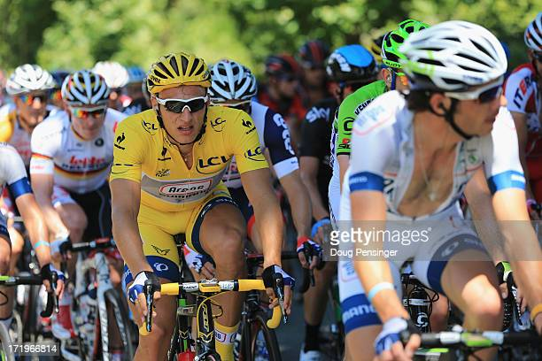 Stage one winner and yellow jersey wearer Marcel Kittel of Germany and Team ArgosShimano is seen during stage two of the 2013 Tour de France a 156KM...