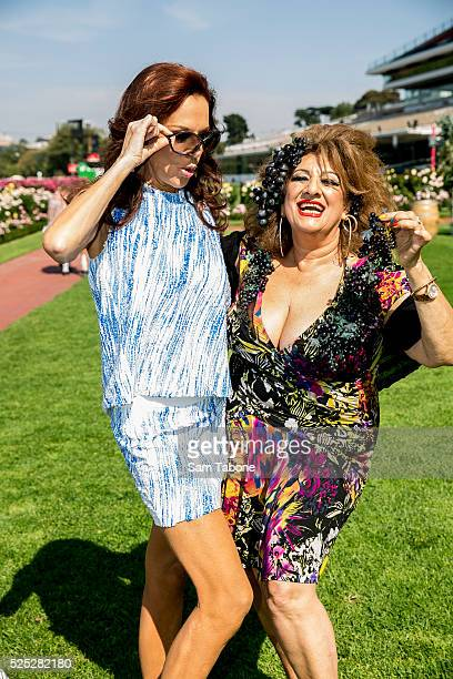 Stage queens Rhonda Burchmore and Maria Venuti AM who will climb into wine barrels for a Flemington race of a different kind pose on March 8 2016 in...