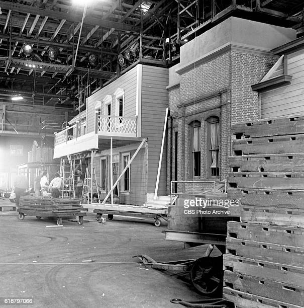 Stage sets under construction when Gunsmoke moves to CBS Studio Center from Paramount Sunset studios location About 75 percent of the structures were...