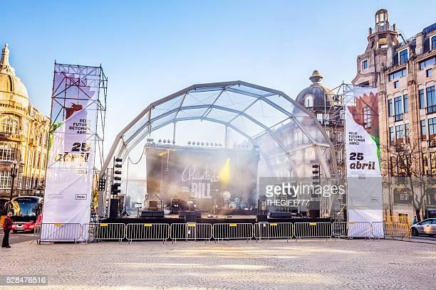 Stage setting in Porto city square for a festival