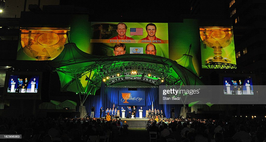 A stage view of player pairings featured at the opening ceremonies at Columbus Commons prior to the start of The Presidents Cup at the Muirfield Village Golf Club on October 2, 2013 in Columbus, Ohio.