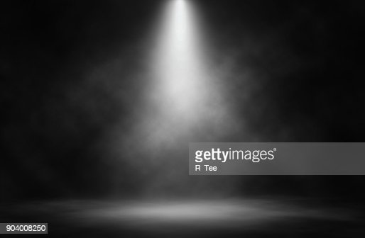 Stage white smoke spotlight background. : Stock Photo