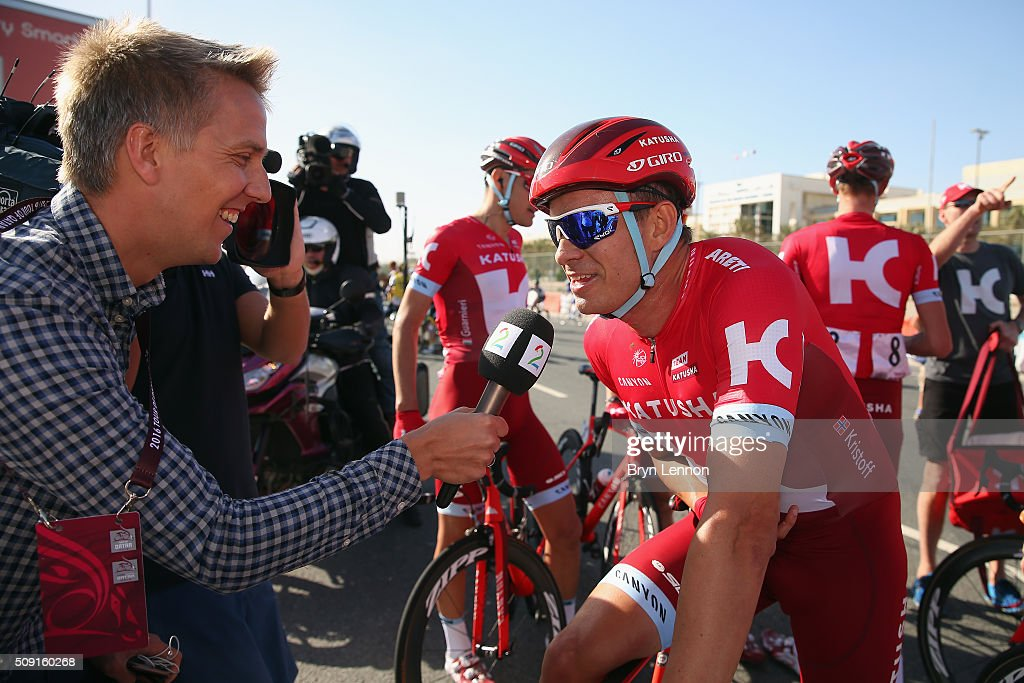 Stage winner <a gi-track='captionPersonalityLinkClicked' href=/galleries/search?phrase=Alexander+Kristoff&family=editorial&specificpeople=6165249 ng-click='$event.stopPropagation()'>Alexander Kristoff</a> of Norway and Team Katusha chats to reporters after stage two of the 2016 Tour of Qatar from Qatar University to Qatar Univeristy on February 9, 2016 in Doha, Qatar. The stage also serves as a test event for the World Road Race Championships which will be held in Doha in October.
