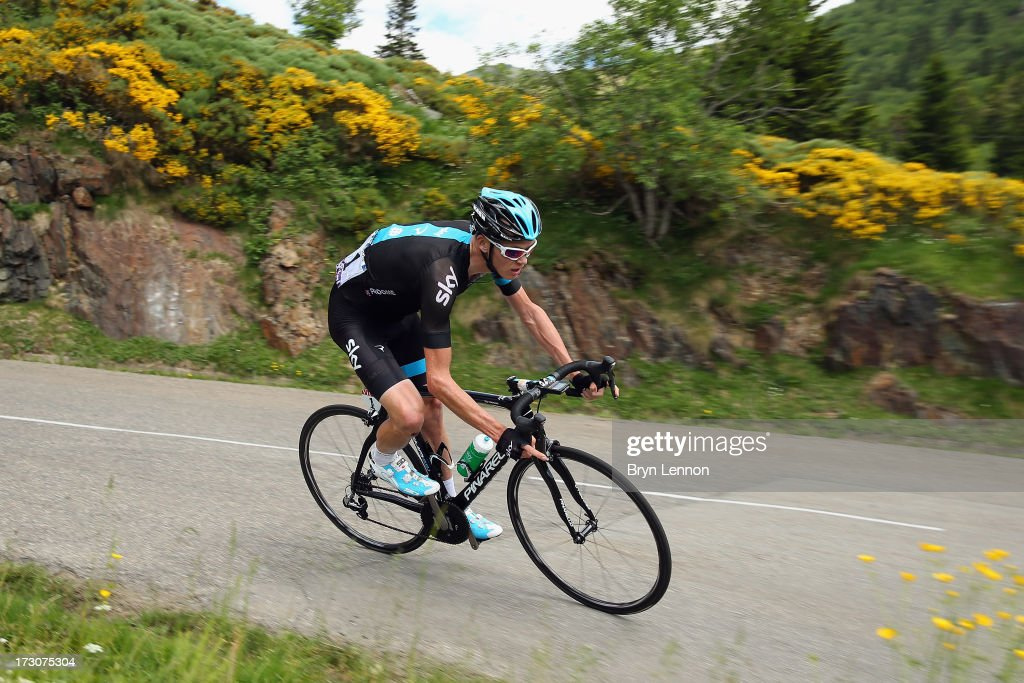 Stage winner <a gi-track='captionPersonalityLinkClicked' href=/galleries/search?phrase=Chris+Froome&family=editorial&specificpeople=5428054 ng-click='$event.stopPropagation()'>Chris Froome</a> of Great Britain and Sky Procycling in action during stage eight of the 2013 Tour de France, a 195KM road stage from Castres to Ax 3 Domaines, on July 6, 2013 in Ax 3 Domaines, France.
