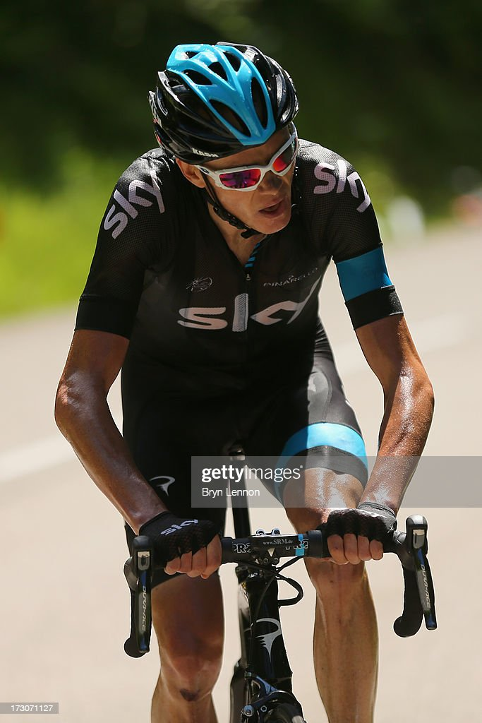 Stage winner <a gi-track='captionPersonalityLinkClicked' href=/galleries/search?phrase=Chris+Froome&family=editorial&specificpeople=5428054 ng-click='$event.stopPropagation()'>Chris Froome</a> of Great Britain and Team Sky Procycling ion action during stage eight of the 2013 Tour de France, a 195KM road stage from Castres to Ax 3 Domaines, on July 6, 2013 in Ax 3 Domaines, France.