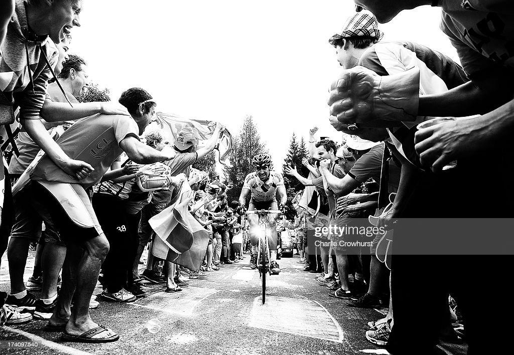 Stage winner <a gi-track='captionPersonalityLinkClicked' href=/galleries/search?phrase=Christophe+Riblon&family=editorial&specificpeople=4300687 ng-click='$event.stopPropagation()'>Christophe Riblon</a> of Team Ag2r-La Mondiale makes his way through Dutch corner during stage eighteen of the 2013 Tour de France, a 172.5KM road stage from Gap to l'Alpe d'Huez, on July 18, 2013 in Alpe d'Huez, France.