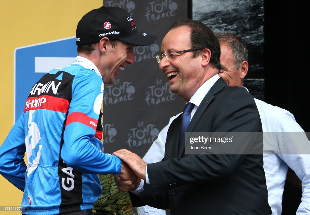 Stage winner Daniel Martin of Ireland and Team Garmin-Sharp congratulated by French President Francois Hollande after Stage Nine of the Tour de France 2013 - the 100th Tour de France -, a 168.5KM road stage between Saint-Girons and Bagneres-de-Bigorre on July 7, 2013 in Bagneres-de-Bigorre, France.
