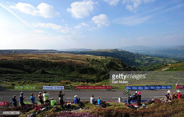 Stage Winner Edoardo Zardini of Italy and Bardiani CSF leads up the final climb during Stage Three of the 2014 Tour of Britain from Newtown to...