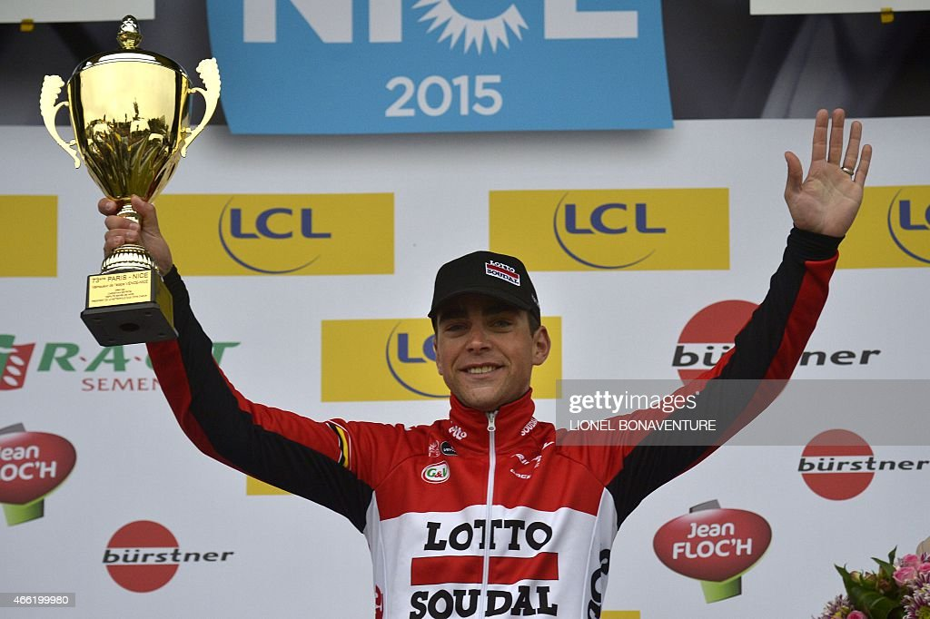 Stage winner France's <a gi-track='captionPersonalityLinkClicked' href=/galleries/search?phrase=Tony+Gallopin&family=editorial&specificpeople=6712360 ng-click='$event.stopPropagation()'>Tony Gallopin</a> celebrates on the podium after winning the sixth stage of the 73rd edition of the Paris-Nice cycling race, between Vence and Nice, southeastern France, on March 14, 2015.