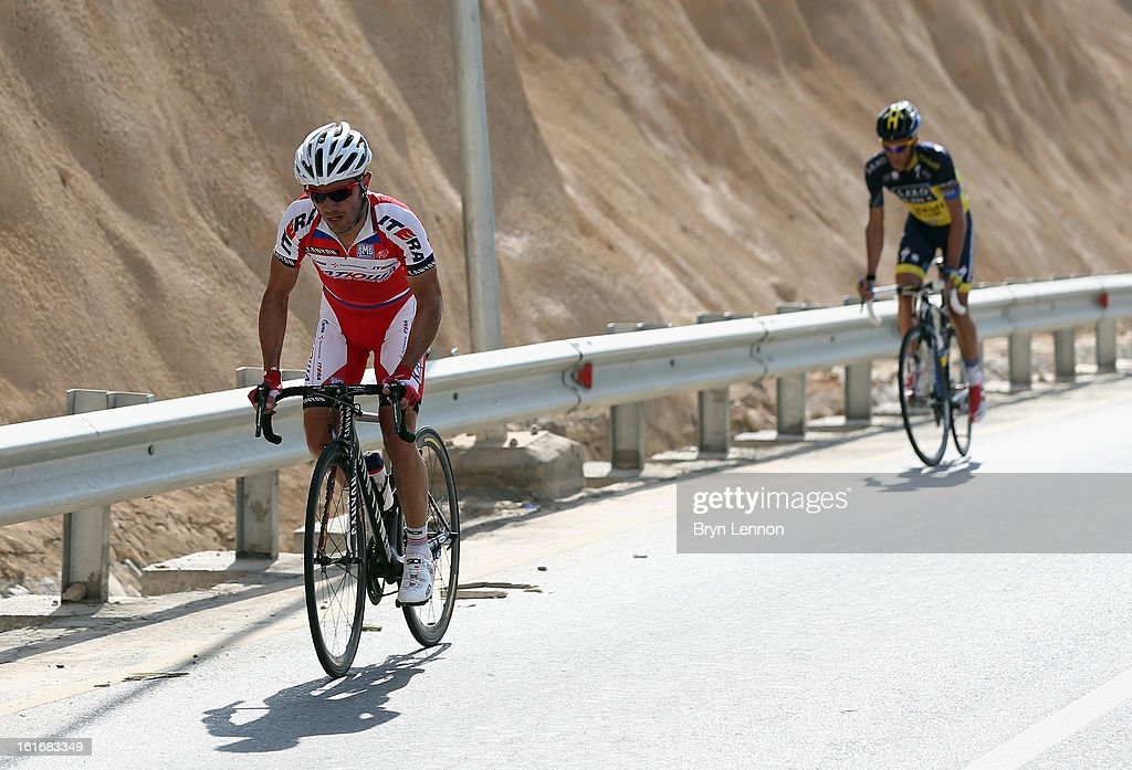 Stage winner Joaquim Rodriguez of Spain and Katusha leads Alberto Contador of Spain and Team Saxo-Tinoff on stage four of the 2013 Tour of Oman from Al Saltiyah in Samail to Jabal Al Akhdhar (Green Mountain) on February 14, 2013 in Jabal Al Akhdhar, Oman.