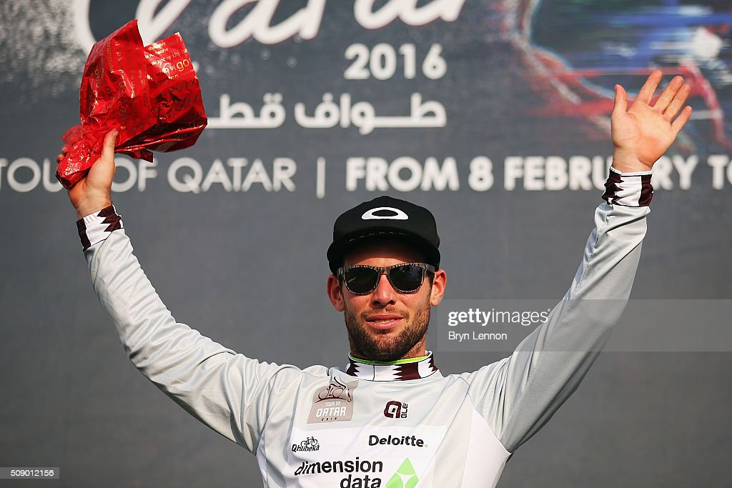 Stage winner <a gi-track='captionPersonalityLinkClicked' href=/galleries/search?phrase=Mark+Cavendish&family=editorial&specificpeople=684957 ng-click='$event.stopPropagation()'>Mark Cavendish</a> of Great Britain and Dimension Data also took the lead in the points classicfication after winning stage one of the 2016 Tour of Qatar, a 176.5km road stage from Durkhan to Al Khor Corniche on February 8, 2016 in Al Khor Corniche, Qatar.