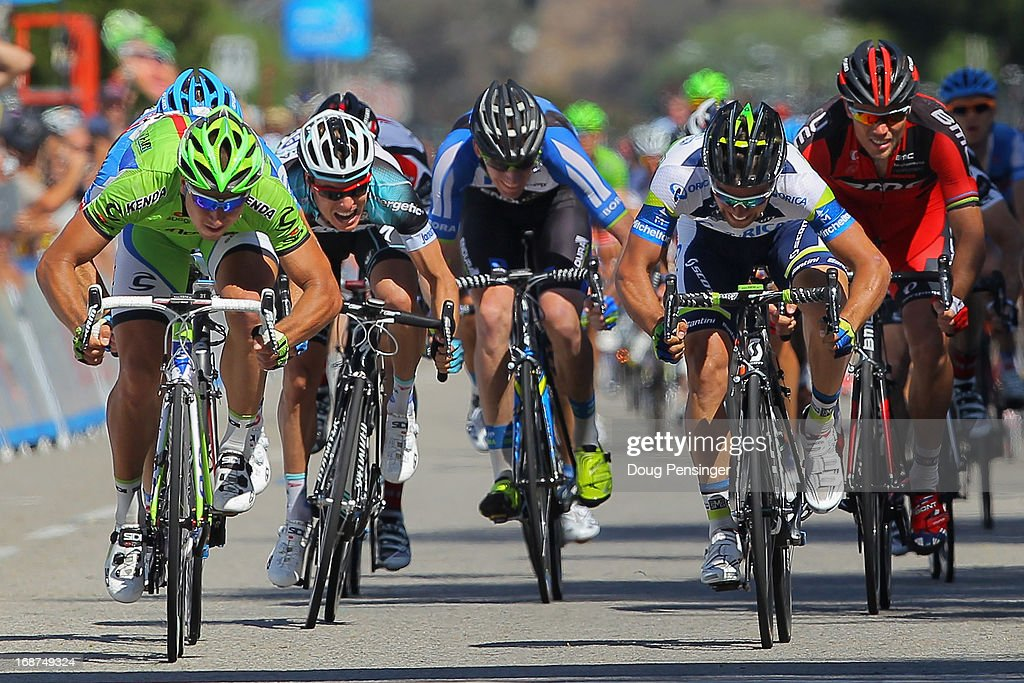 Stage winner Peter Sagan (L) of Slovakia riding for Cannondale Pro Cycling sprints ahead of Michael Matthews (R) of Australia riding for Orica Green Edge in second place to win Stage Three of the 2013 Amgen Tour of California from Palmdale to Santa Clarita on May 14, 2013 in Santa Clarita, California.