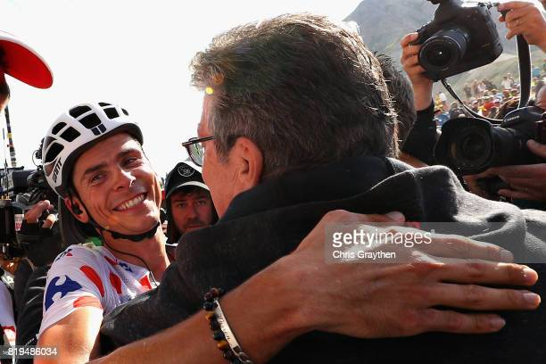 Stage winner Warren Barguil of France riding for Team Sunweb is congratulated after stage eighteen of the 2017 Tour de France a 1795km stage from...