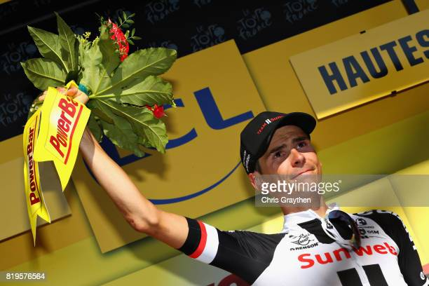 Stage winner Warren Barguil of France riding for Team Sunweb celebrates on the podium after stage eighteen of the 2017 Tour de France a 1795km stage...
