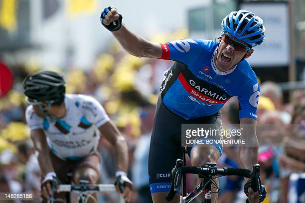Stage winnerGreat Britain's David Millar celebrates as he crosses the finish line ahead of France's JeanChristophe Peraud at the end of the 226 km...