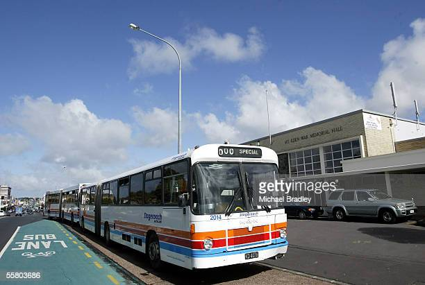 Stagecoach buses line up outside the Mt Eden War Memorial hall as bus drivers hold a stop work meeting inside Auckland New Zealand Thursday 21 April...