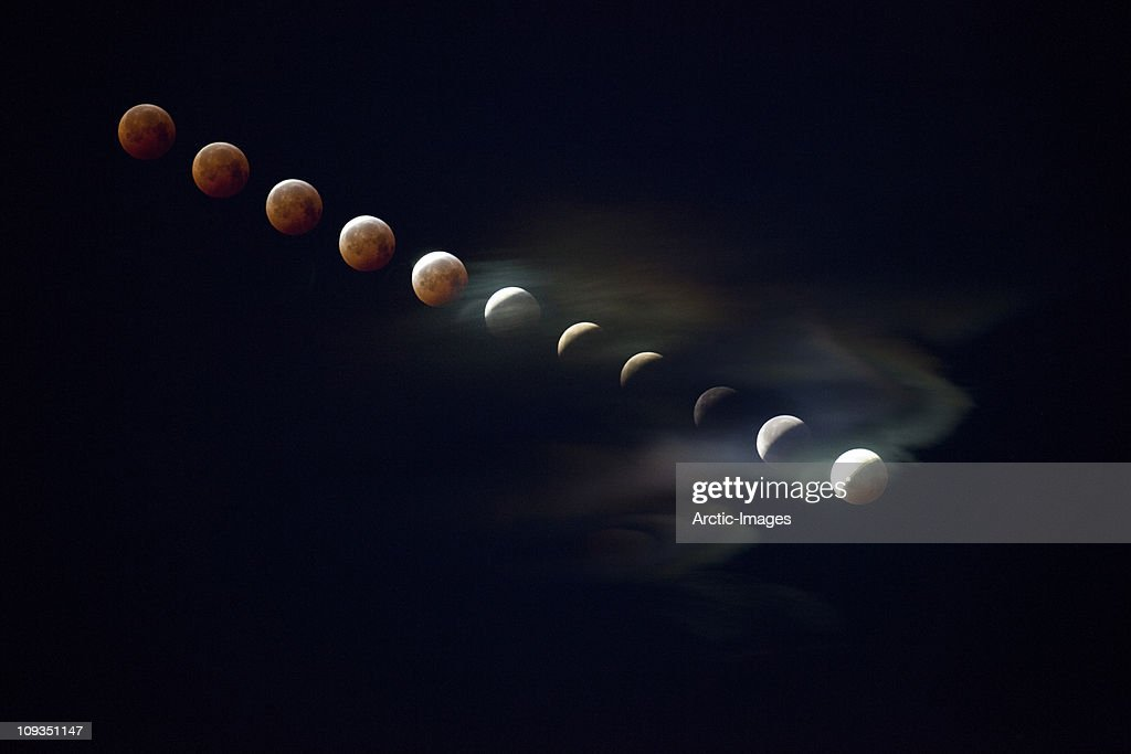Stages of lunar eclipse shot from Iceland