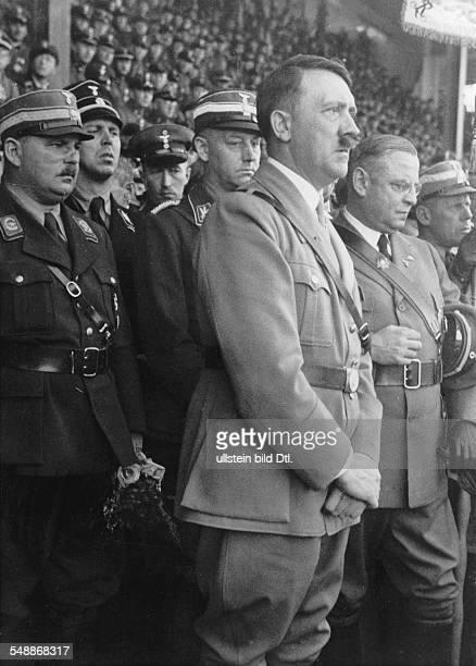 'StahlhelmTag' in Hanover Adolf Hitler among the honoured guests at the Reich leaders meeting in the town hall right aside the Federal leader Franz...