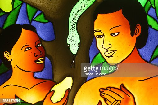 Stained glass : Adam & Eve
