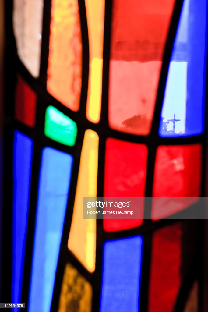 Stained glass and cross : Stock Photo